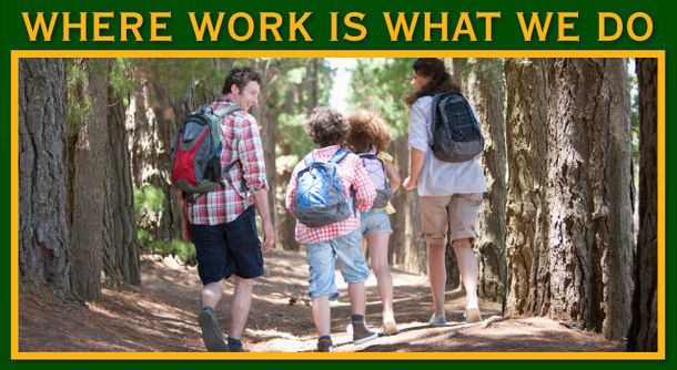 Where Work Is What We Do | Family with back packs